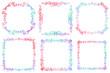 Set of hand drawn colorful doodle frames