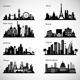 Fototapety City skyline set. Vector silhouettes