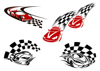 Racing cars with checkered winding roads