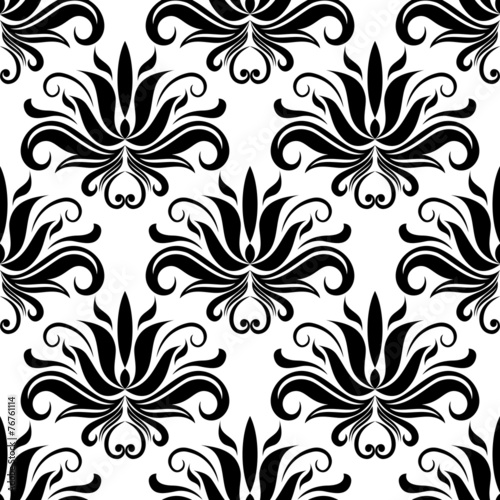 Papiers peints Artificiel Seamless damask pattern with stylized black flowers