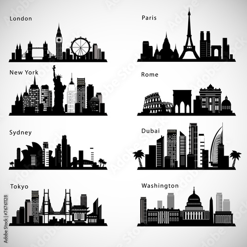 City skyline set. Vector silhouettes - 76761128