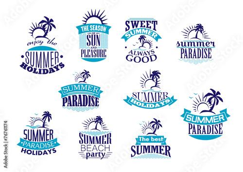 Summer holidays retro symbols and logo