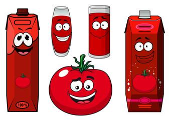Cartoon tomato vegetable, juice packs and glasses