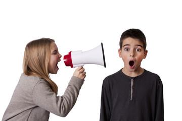 child with speaker