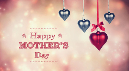 Happy Mother's Day message with hanging heart ornaments