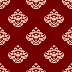 Pink victorian seamless pattern with leaves and lily buds