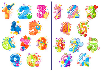 Cartoon childish numbers and digits