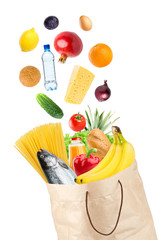 Grocery bag and falling healthy food