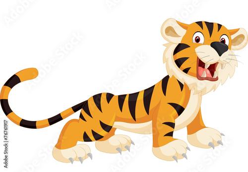 Cute tiger cartoon roaring - 76761917