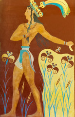 Aged fresco of warrior in Knossos