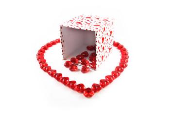 Giftbox Spilling Valentine Hearts inside Heart Shape