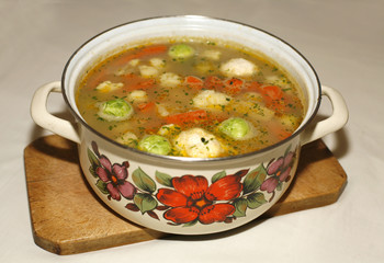 Homemade vegetable soup with brussels sprouts