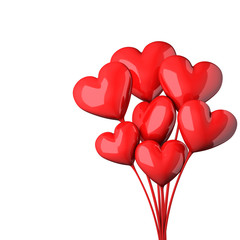 Abstract red hearts bouquet Valentines day card.