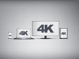 UHD Tv, smartphone, laptop, tablet symbols in modern ultra hd