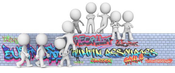 Human Resource Management.The dude 3D character on Graffiti wall