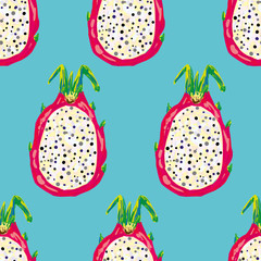 Seamless tropical pattern with fresh sliced white dragon fruit