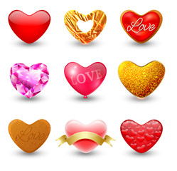 Set of icons hearts, that are made of different materials