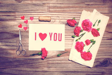 I Love You theme with scissors, twine, and carnation flowers