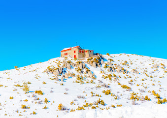 Ski center on the top of Ziria mountain in Korinthia in Greece