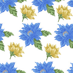 Seamless pattern with blue and yellow flowers