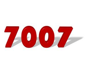 kırmızı renkli 7007 sayısı