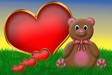 Valentine's Teddy Bear Sitting Beside a Big Heart