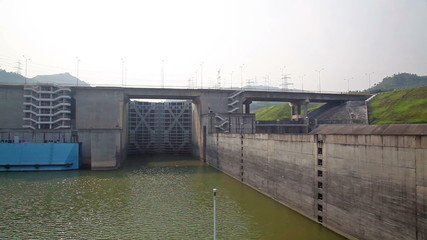 Travelling towards the gate of a canal lock