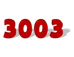 kırmızı renkli 3003 sayısı