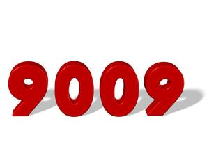 kırmızı renkli 9009 sayısı