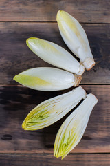 Raw Belgian Endive bitter vegetable