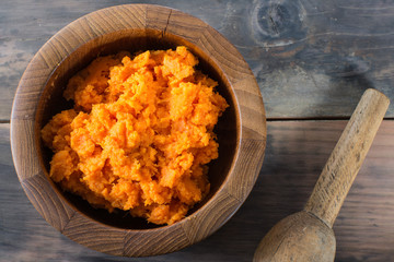 Bowl of mashed sweet potato