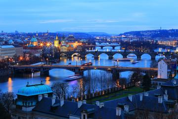 Prague City with its Bridges above River Vltava after the Sunset