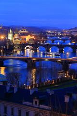 Night Prague City with its Bridges above River Vltava