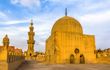 Dome and minaret of the Amir al-Maridani mosque in Cairo - Egypt