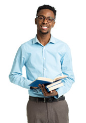 Happy african american college student standing with books in hi