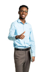 Happy african american college student standing with laptop and