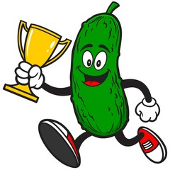 Pickle Running with Trophy