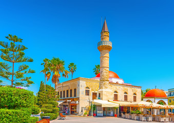 turkish old mosque at central squre of Kos island in Greece