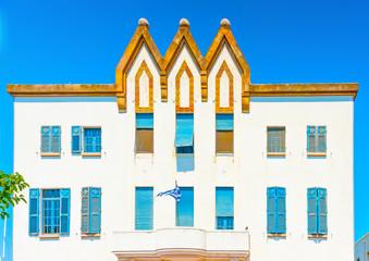 italian styled old hotel, a landmark of Kos island in Greece