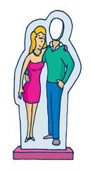 Cardboard stand up couple figure with missing man