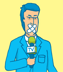 Censored reporter with his mouth covered with patch