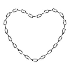 Chain in shape of heart, isolated on white