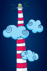 Tall lighthouse standing among clouds