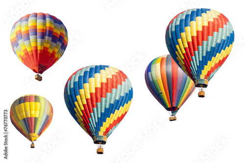 Plexiglas Ballon A Set of Hot Air Balloons on White