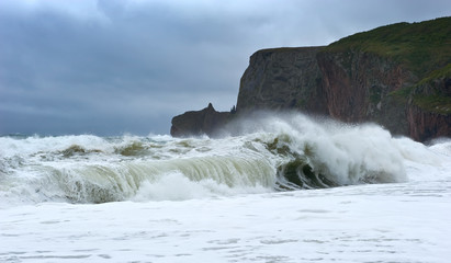Strong storm on the coast.