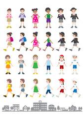 様々な人々のイラスト / 子供達