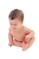 Surprised six month baby crying