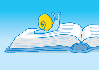Slow reader or snail crawling on book