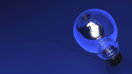 Close Up Of Electric Bulb On Blue Text Space