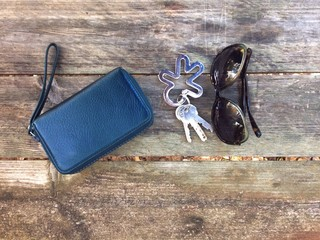 wallet, keys and sunglasses